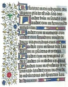 Very Large Medieval Illuminated Book Of Hours Manuscript Lf Psalm150 C 1450