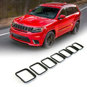 Gloss Black Grill Rings Inserts For Grand Cherokee Trackhawk Srt 2017 2019