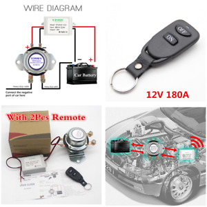 12v Car Battery Switch 180a 2pcs Remote Control Manual Disconnect Latching Relay