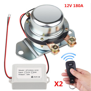 Silver 180a Car Battery Switch Disconnect Master Kill With 2pcs Remote Control