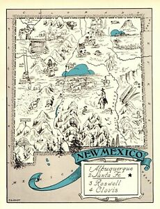 1930s Antique New Mexico State Map Rare Animated Picture Map Blu 6891