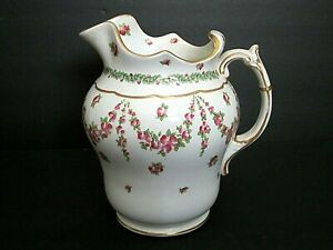 Antique Porcelain Hand Painted Pitcher Ewer