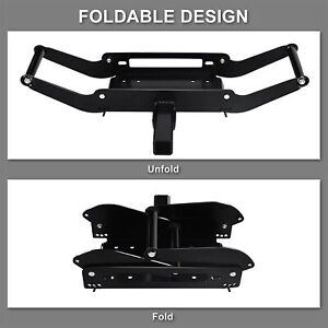Foldable Winch Mounting Plate Cradle Bracket For 2 Hitch Receiver 4wd Suv Truck