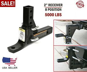 Drop Adjustable Ball Mount For Car Trailer Hitch Tow 2 Receiver System 5000 Lbs
