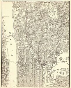 1940 Antique Manhattan Map Bronx New York City Map Gallery Wall Art 6922