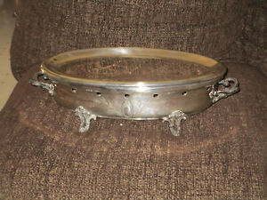 Antique Adolphe Boulenger French Silver Plate Ornate Oval Chafing Dish 1864 1899