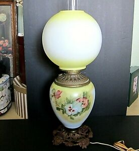 Antique Glass Gwtw Globe Hurricane Hand Painted Pansy Parlor Table Lamp