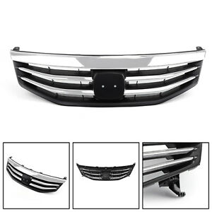 Front Upper Bumper Hood Black Chrome Grill Grille For Honda Accord 2011 2012 Usa