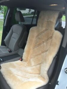 Premium Sheepskin Seat Cushion Universal Fit Cars Trucks Suvs Tan