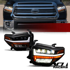 For 2014 2019 Toyota Tundra Black Full Led Sequential Quad Projector Headlights