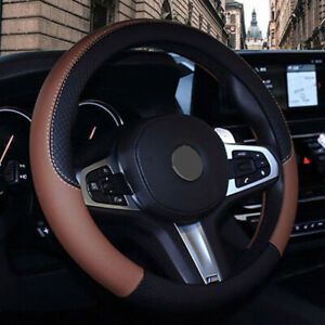 Pu Leather Car Steering Wheel Cover Anti Slip Protector Fit 38cm 15 Brown