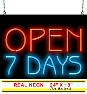 Open 7 Days Neon Sign Jantec 24 W X 18 Real Neon Business All Week