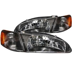 Anzo Crystal Headlights Black Fits 1998 2000 Toyota Corolla Anz121131