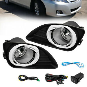 For 2010 2011 Toyota Camry Fog Lights Clear Lens Front Driving Lamps Kit