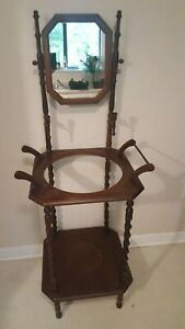 Vintage Basin Wash Stand Wooden Wash Stand Nice Details Overall Good Cond