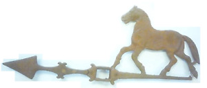New Old Style Farm Cast Iron Horse Lightning Rod Weather Vane