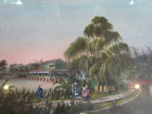 Antique 19thc Chinese W C Landscape Painting By Sunqua China Trade Export
