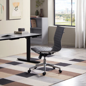 Adjustable Mid back Armless Office Task Chair Faux Leather Ribbed Sw