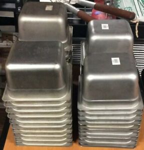 Used Set Of 20 1 6 Size Stainless Steel Steam Table Pan 4 Deep Lot