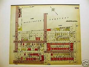 Brooklyn Map 1929 Boro Park 19 21st Washington Cemetery Matted