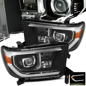 For 2007 2013 Toyota Tundra 2008 2013 Sequoia Black Projector Headlights Lh rh
