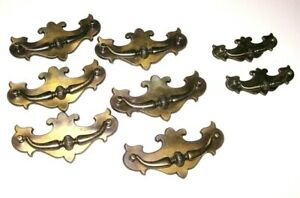 Lot Of 8 Vintage Brass Tone Ornate Desk Dresser Drawer Pull Handles 2 Sizes