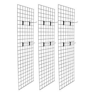 Display Grid Rack 3 Pack 6 Ft Black Retail Metal Stand Wall Store Wire Organizer
