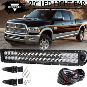 22 Dual Row Led Light Bar Combo Bumper Lights Wire Kit For 03 18 Ram 2500 3500