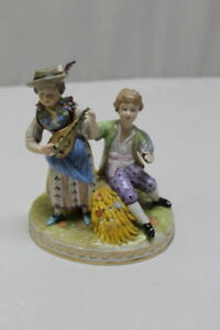 Antique German Blue Sp Dresden Porcelain Figure Girl And Boy Harvest Time
