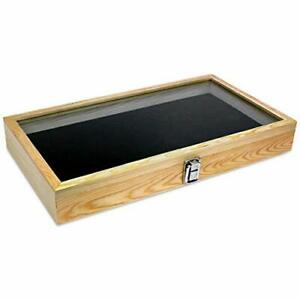 Mooca Wooden Jewelry Display Case With Tempered Glass Top Lid