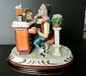 Large Capodimonte Tizian0 Galli Hand Painted Porcelain Clock Maker Figurine