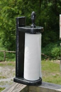 Farmhouse Distressed Wood Paper Towel Holder Black Over White Folk Art Decor