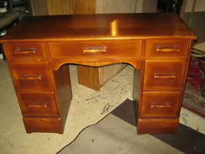 Vintage Mid Century Cushman S Desk Western Style Solid Maple Great Condition