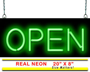 Classic Green Open Neon Sign Jantec 20 X 8 Real Neon Light Diner Store