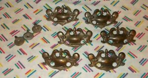 Lot 6 Vintage Dresser Drawer Handles Pulls 3 Small Knobs Brass