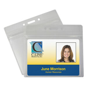 C line 50 pack Of Sturdy Poly Zipper seal Pvc free Horizontal Id Badge Holders