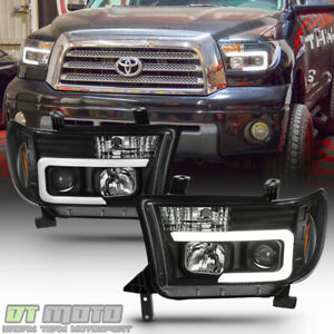 For Black 2007 2013 Toyota Tundra 08 17 Sequoia Led Tube Projector Headlights