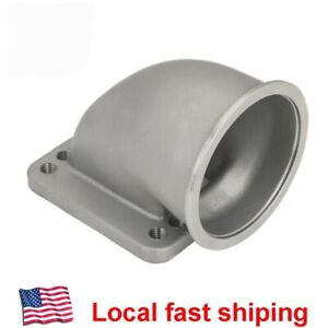 For T3 T4 Turbo Flange 3 Stainless Steel Vband 90 Degree Elbow Adapter Cast New