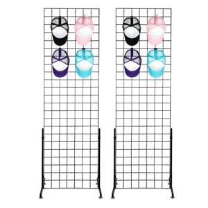 2 Pack 2 X 6 Grid Wall Panel Floorstanding Display Fixture With Base Black