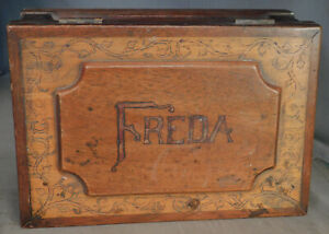 Antique Folk Art Tramp Pyrographic Jewelry Work Box Freda Oil Painting Seascape