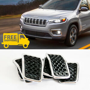7pc Gloss Black Mesh Chrome Ring Grille Grill Inserts For 2019 Jeep Cherokee