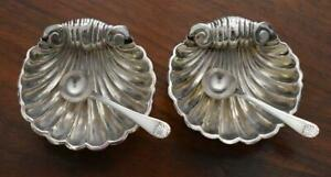 C 1900 Antique English W E T Sterling Silver Shell Salt Cellar Pair With Spoons