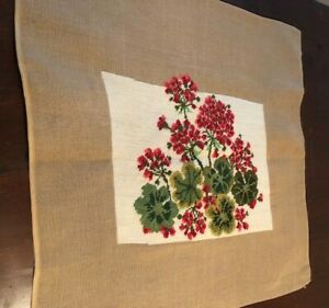 Floral Hand Embroidered Needlepoint Canvas Size 26 X 26