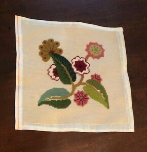 Floral Needlepoint Hand Embroidered Canvas Size 12 X 12