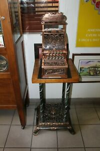Early 1900s National Cash Register Mod 211 Brass Vintage Candy Register Stand