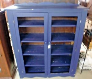 Country Blue Pantry Cupboard Cabinet 5 Shelves 2 Door Painted