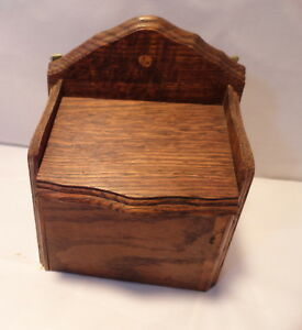 Vintage Oak Wood Recipe Box Primitive Counter Or Hanging