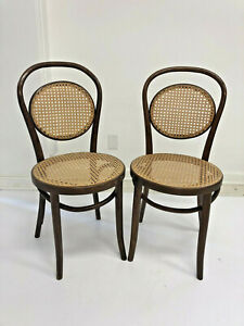 Vintage Bentwood Bistro Chair Pair Wood Ice Cream Parlor Caned Seat Wooden Set 2