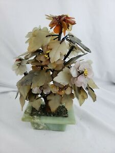 Vintage Chinese Carved Jade Semi Precious Stone Shohin Bonsai Tree