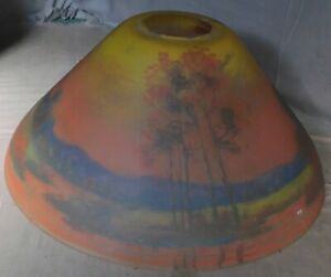 As Is Antique Reverse Painted Glass Lamp Shade Arts And Crafts Fall Landscape